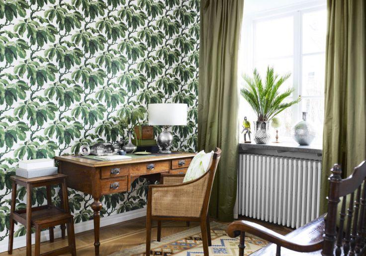 Oxford, Boråstapeter stormönstrad gröna blad
