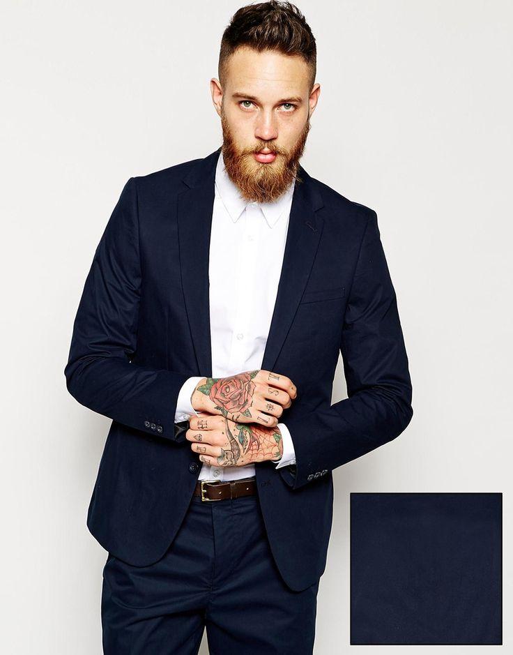 ASOS Slim Fit Suit in Navy Poplin