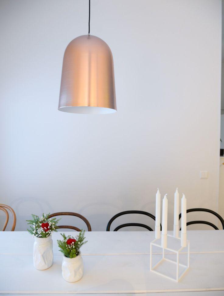 Copper pendant in Kitchen - Kupoli designed Matti Syrjälä