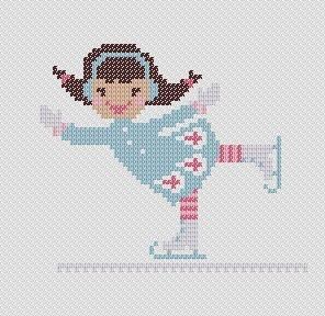 A Little Girl Ice Skating. PDF Cross Stitch Pattern. $4.00, via Etsy.