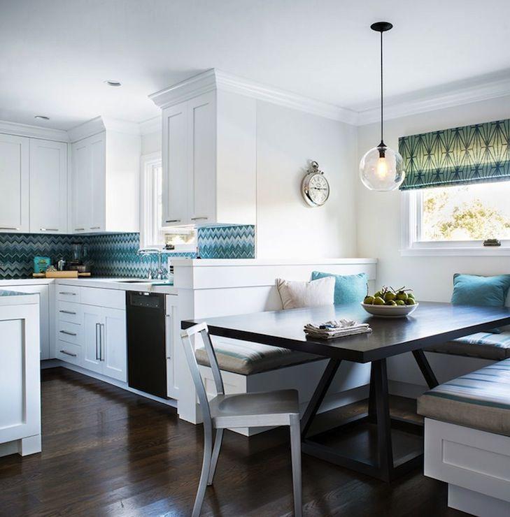 Turquoise Chevron Tile Backsplash - Contemporary - kitchen - Jute interior Design