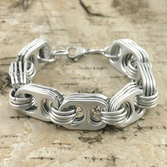 pop tab and chainmaille bracelet  wirst size 7 inch by tabsolute, $13.00