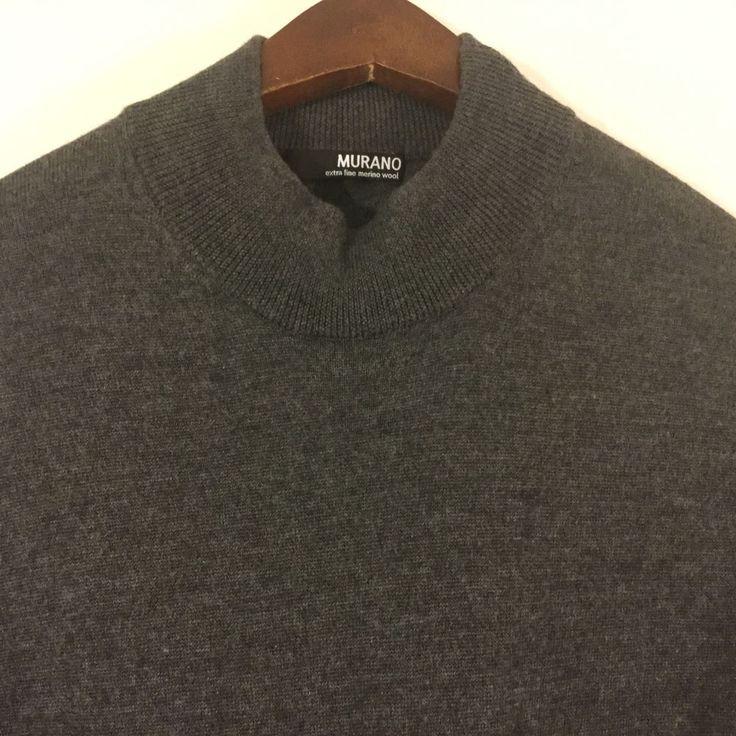 Murano Womens Gray Extra Fine Merino Wool Sweater Mock Turtleneck Size M #Murano #MockTurtleneck