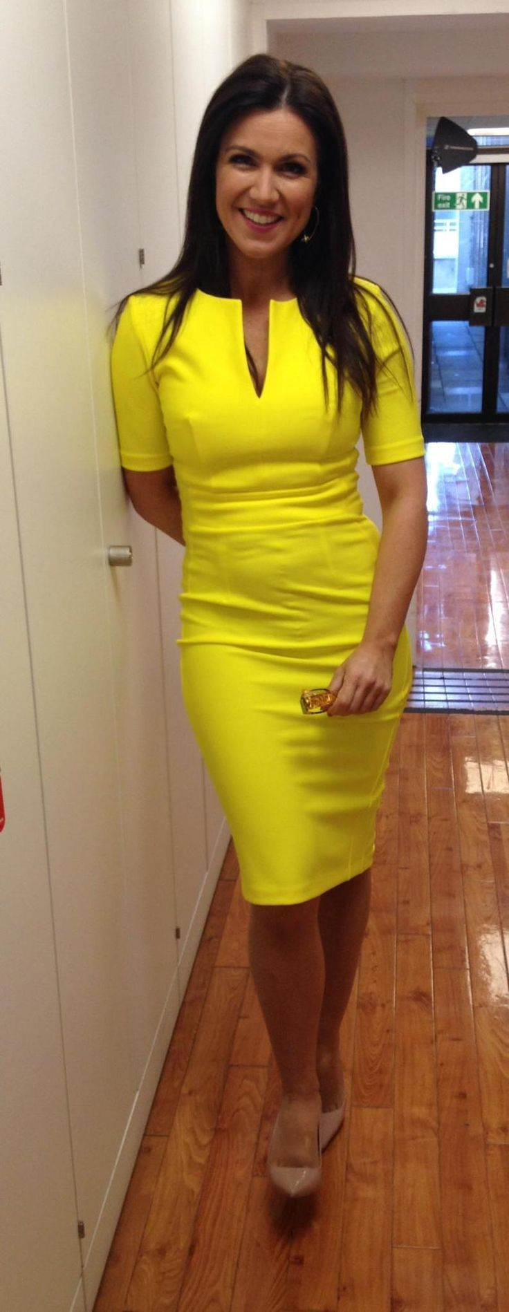 Susanna Reid wearing the Yasmin dress in Blazing Yellow on GMB #beautiful #DivaCatwalk #GMB
