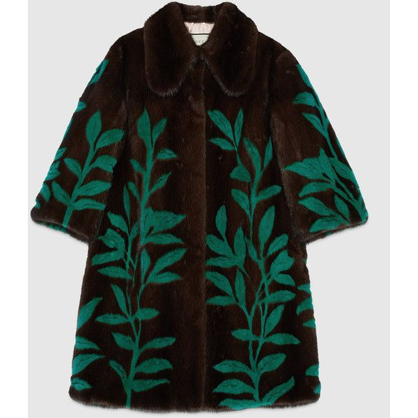 Gucci Leaf Intarsia Mink Fur Coat (38,299,130 KRW) ❤ liked on Polyvore featuring outerwear, coats, mink, womens ready to wear, brown mink fur coat, gucci coat, green coat, mink coat and brown coat