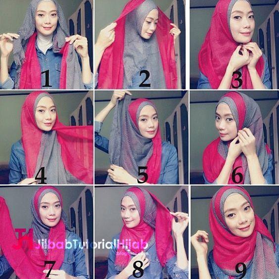 Kumpulan Gambar Tutorial Cara Memakai Hijab Dua Warna