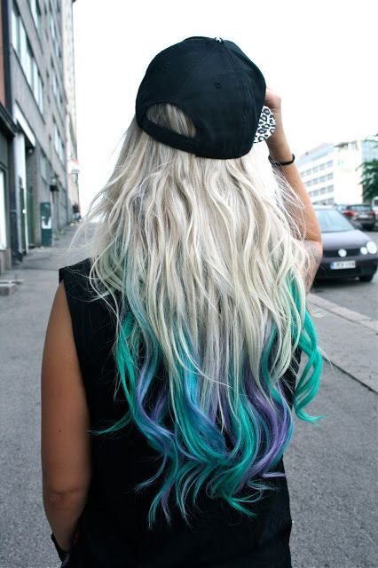 white, turqouise, and purple hair