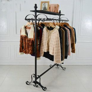 Fashion clothes island Wrought iron clothes rack, display console double row of shelves Clothing store clothes rack