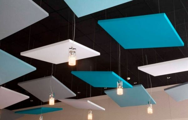 Acoustic ceiling panels in blue, white and grey.