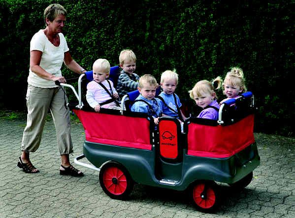 This is an awesome stroller for taking little ones at day care out on walks!
