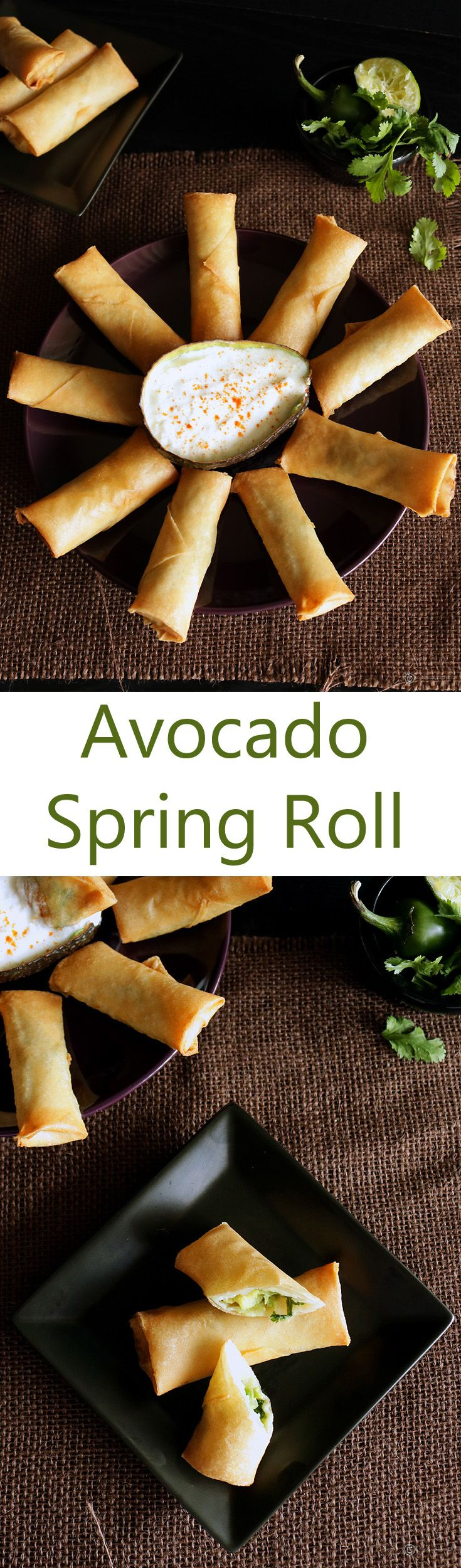 A super delicious fusion appetizer. Combines the crispy outer of an Asian spring roll to a naturally creamy avocado filling which resembles a guacamole.