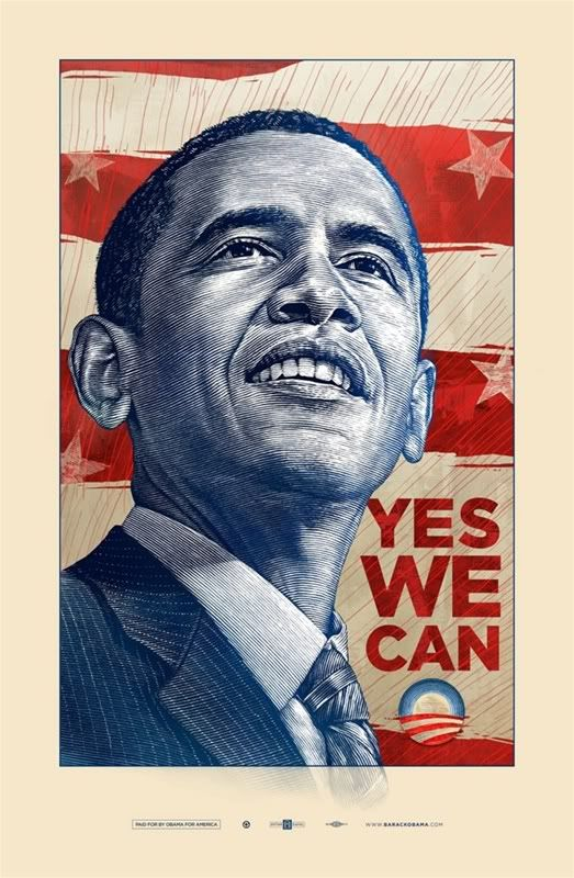 """Yes We Can"" 2008 Barack Obama Poster by Antar Dayal"