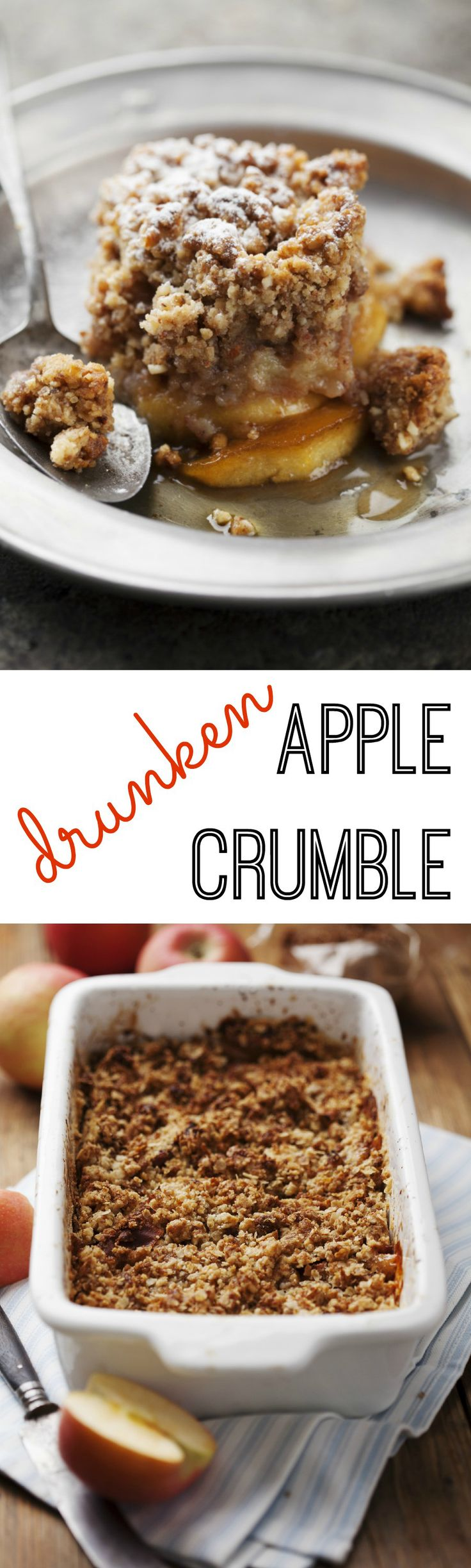 Drunken apple crumble made with a hint of amaretto is a simple crowd pleasing recipe.