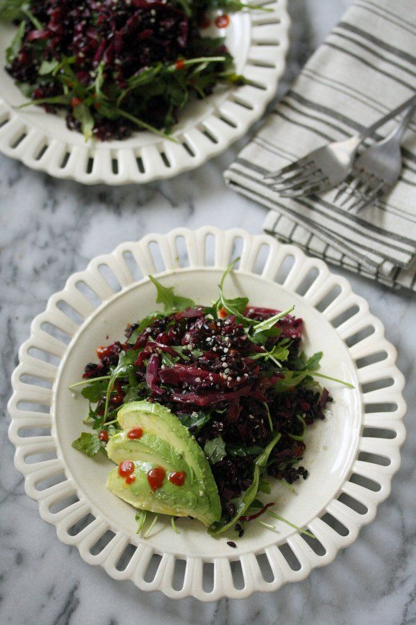 Asian Braised Red Cabbage Recipe with Black Rice, Avocado and Arugula | Warm Purple Cabbage Slaw | Easy, Healthy Salad
