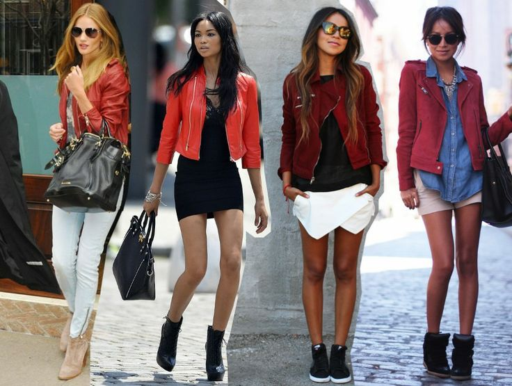 Fashion Fade Magazine : How To Wear Red Leather Biker Jacket