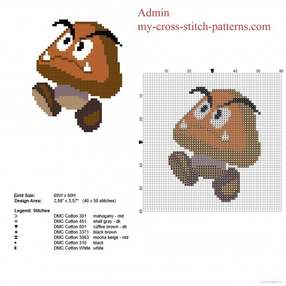 Goomba Super Mario videogame character free cross stitch pattern