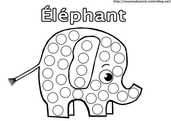 Coloriage éléphant  à gommettes