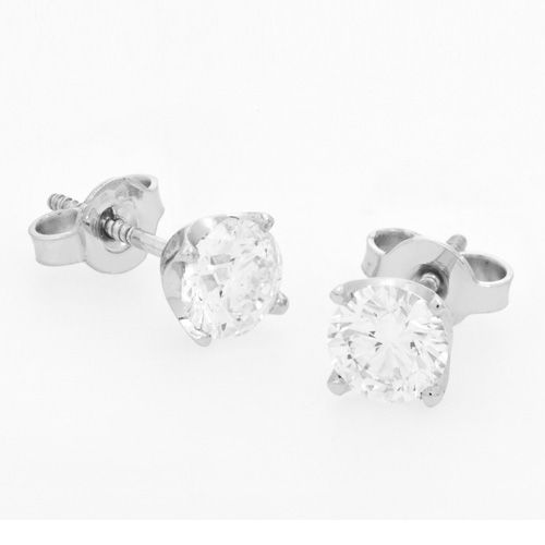 Diamonds International 18ct white gold Diamond set Stud earrings.  18ct white gold Diamond set Stud earrings x Round Brilliant Cut Diamond = 2.00ct claw set with threaded posts and butterfly backs.  Product reference 096660.  #diamonds #earrings #studs #whitegold #earrings #DiamondsInternational