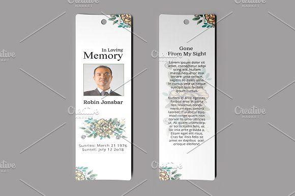 Funeral Bookmark Template V02 Funeral Program Template Bookmark Template Funeral Programs