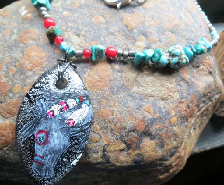 Native war horse painted original art pendant turquoise beaded western jewelry #BelleRayneJewelryArt