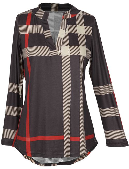 Cozy with $21.99 Only! Free shipping&easy return! This plaid top is detailed with V-neck&high low hem. Keep chic&sassy at Cupshe.com