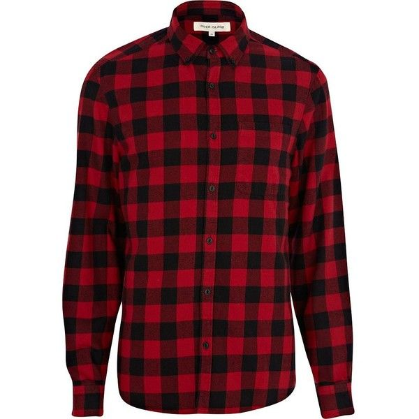 River Island Red check flannel shirt ($20) ❤ liked on Polyvore featuring men's fashion, men's clothing, men's shirts, men's casual shirts, shirts, flannel, men, sale, mens flannel shirts and mens red checked shirt