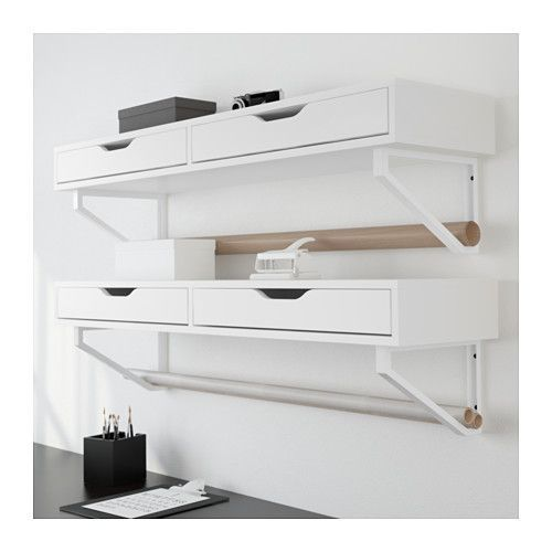 EKBY ALEX / EKBY LERBERG Shelf with drawer  - IKEA- Stack two shelves with a mirror for makeup and hair stuff
