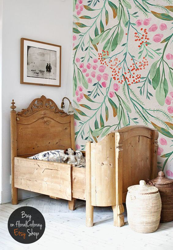Rowanberry and leaves removable Wallpaper    Watercolor wallpaper    Reusable wall mural    Peel and Stick Wallpaper #141