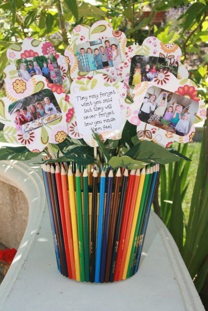 Thank You Gift For My Kids Preschool Teacher With Class Pictures From Each Year Giftsfor In 2020 Kindergarten Gifts School Teacher Gifts Diy Teacher Christmas Gifts