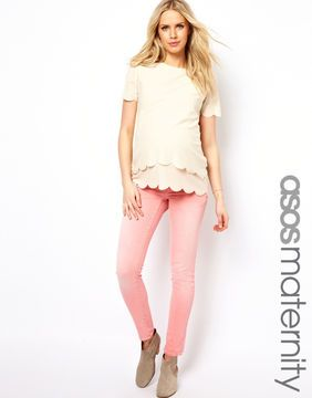 ASOS Maternity Elgin Skinny Jean In Washed Coral on shopstyle.com