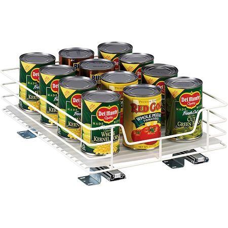 "Glidez 4mm White Wire 12"" Single Basket Sliding Premium Kitchen Organizer"