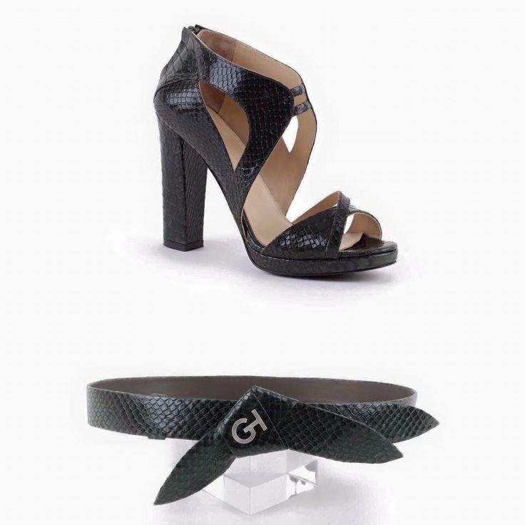 Add impact with these black, snake skin shoes and belt accessory designs  only from #