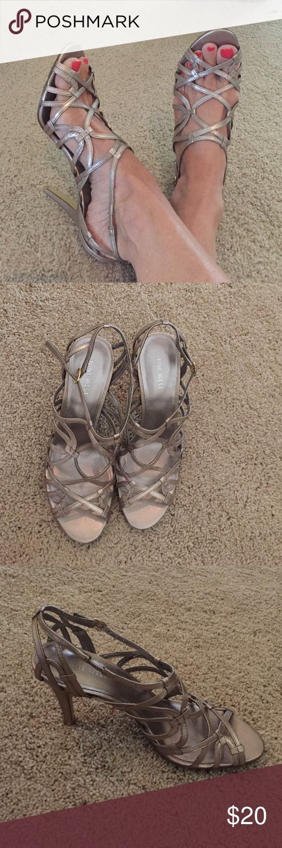 "Nine West- light gold strappy sandals, size 8 Super cute and comfortable-- Nine West- light gold strappy sandals, size 8. Approximately 3 1/2"" heel. Worn once. Nine West Shoes Sandals"