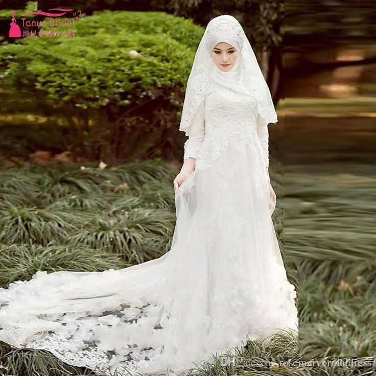 White Muslim Wedding Dresses With Hijab Elegant Lace Bridal Gownsa African Luxury Brides Vestido De
