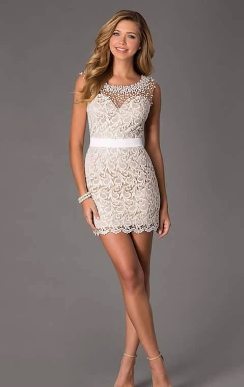 Short white prom dress by dave and johnny 8157