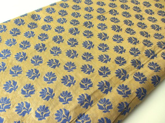 Kobalt blue flowers on gold India silk fabric nr 185 by SilksByUmf