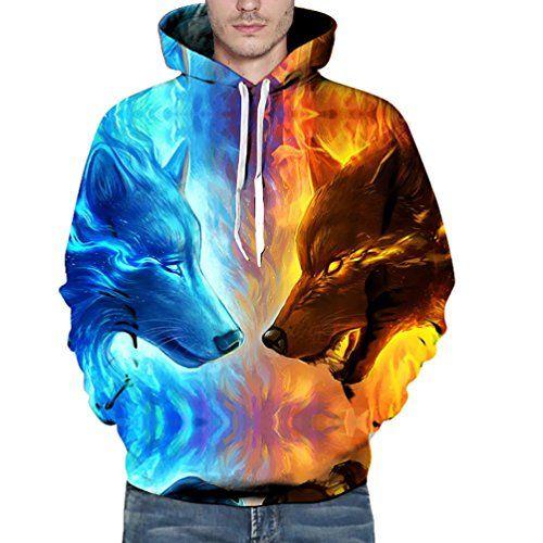 FRYS homme vetement pas cher fashion 3D Imprimé Loup pull homme hiver grand taille sweat a capuche hommes mode manteaux femmes chaud chic…
