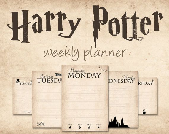 This is a digital file of a Harry Potter themed weekly Calendar. From FenjaVanEm on Etsy Each day has its own unique Harry Potter theme with references to the characters and