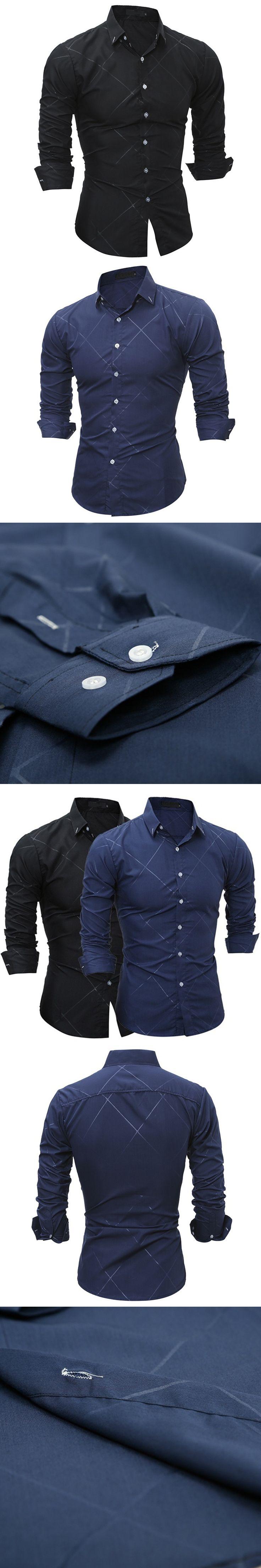 Classic Men Turn-down Collar Long Sleeve Shirt Dark Embossed Print Slim Fit Top