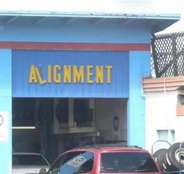"""Wonky """"Alignment"""" - Funny Retail Signs"""