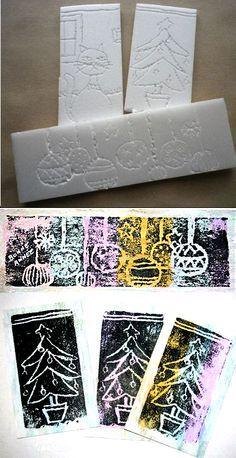 styrofoam prints- do it for christmas cards