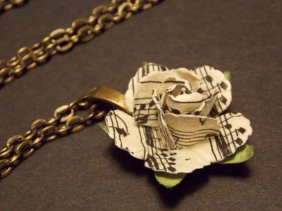 This exquisite sheet music rose necklace ($12).
