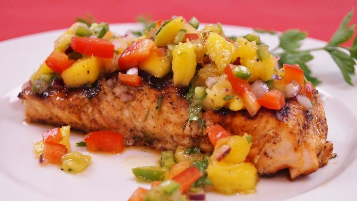 Learn how to make this grilled Salmon with Mango Salsa!  This is an easy salmon recipe with a flavorful spice rub and fresh fruit salsa.  The fruit salsa is made with fresh mango and pineapple for ...