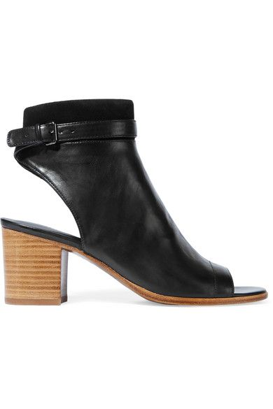 Heel measures approximately 65mm/ 2.5 inches Black leather and suede Buckle-fastening ankle strap, zip fastening along side Imported