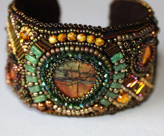 Bead Embroidered Cuff Bracelet,Jasper Swarovski Crystals, Grass Green Bricks, Jewelry, Statement Bracelet BF2007 Amy Johnson