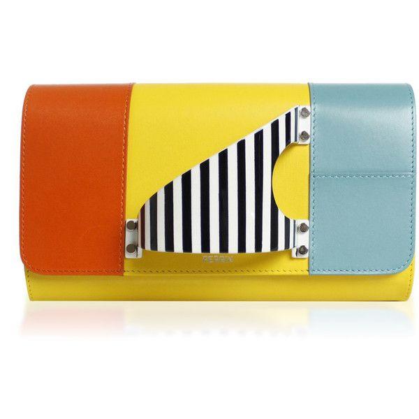 Perrin Paris L'Eiffel Clutch (85.670 RUB) ❤ liked on Polyvore featuring bags, handbags, clutches, multi, yellow clutches, yellow handbags, yellow purse and perrin