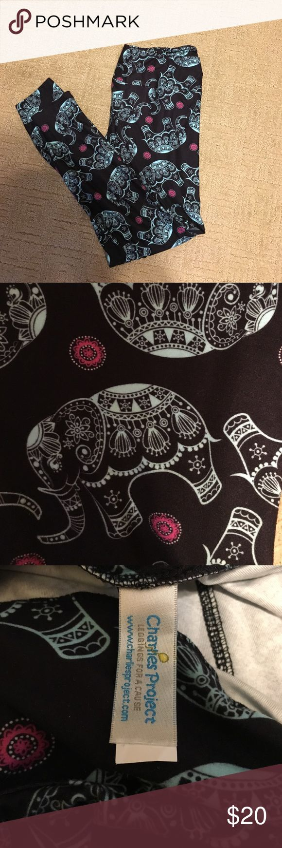 Elephant buttery soft leggings!!! NWOT Navy background leggings with elephants on them!!! They feel lucky like buttah!!! NWOT TC (tall and curvy) Charlie's  project brand Charlies Project Pants Leggings