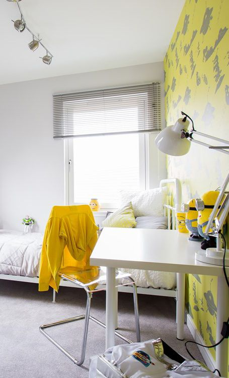 Modern bright bedroom for older kids with lovable yellow grey wallpaper & decor and Minions inspired fun decoration!! http://www.macmic.co.uk/house-developments/new-homes-in-glasgow-the-west/?utm_source=pinterest-pinning&utm_campaign=pinterest&utm_content=childrens-bedrooms-pinterest-board