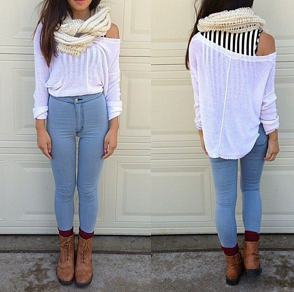 Fall outfit high waisted jeans boots scarf flowy top. | Fall/winter lookbook | Pinterest ...