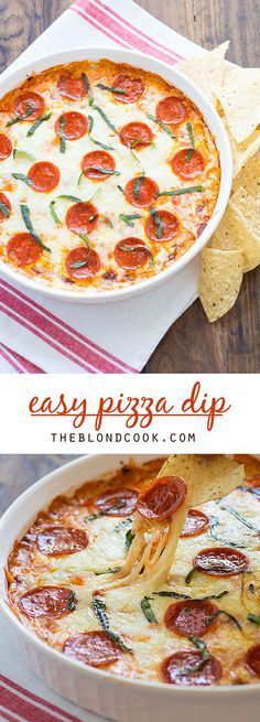 350° EASY Pizza Dip with cream cheese, herbs, cheeses and pepperoni.